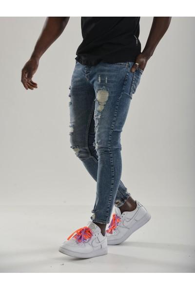 Jean Maker Slim Fit Yırtık Erkek Jean Pantolon Açık Mavi