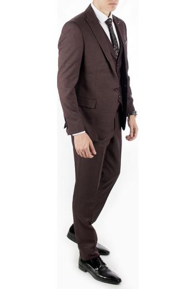 Deepsea Mürdüm Tek Düğme Çitf Yırtmaç Kuşgözü Desen Takım Elbise 1910949