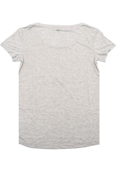Ebru Şallı Kısa Kollu Gri Melanj T-Shirt