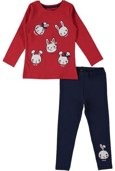 Cvl Kız Çocuk Tavşan Baskılı Taytlı Takım 2 - 5 Yaş Mint Kırmızı