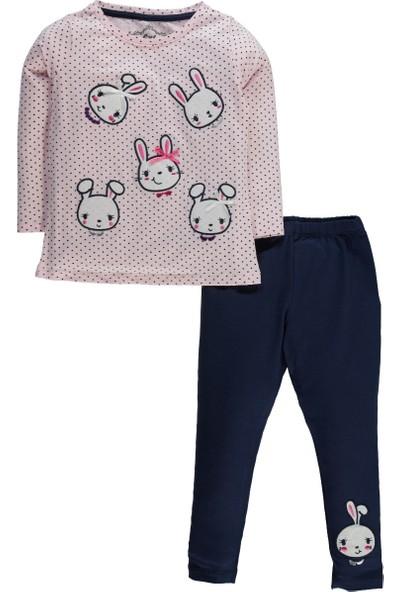 Cvl Kız Çocuk Tavşan Baskılı Taytlı Takım 2 - 5 Yaş Mint Pembe