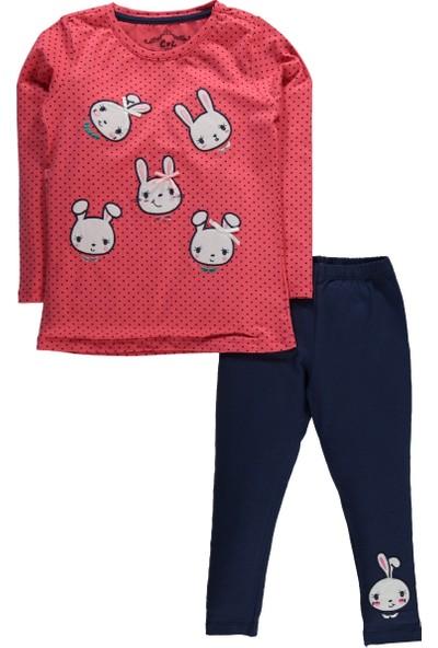 Cvl Kız Çocuk Tavşan Baskılı Taytlı Takım 2 - 5 Yaş Mint Narçiçeği