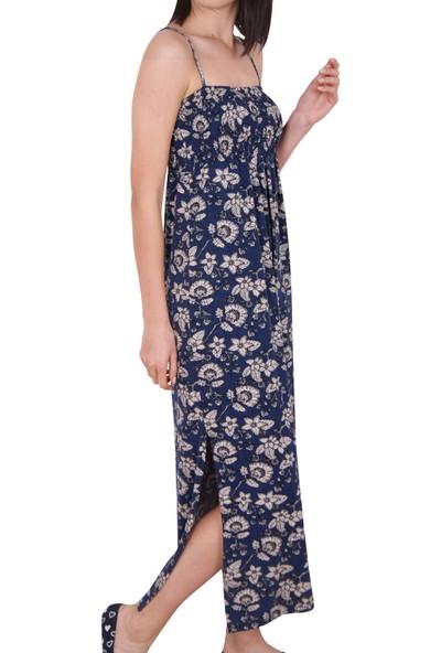 Nicoletta Kadın Tunik Ev Elbisesi İp Askılı Viskon
