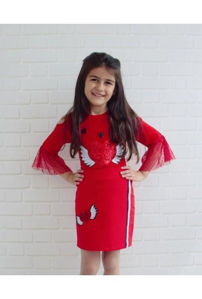 Edda Bebek Kız Çocuk Kalpli Kırmızı Etek Takım