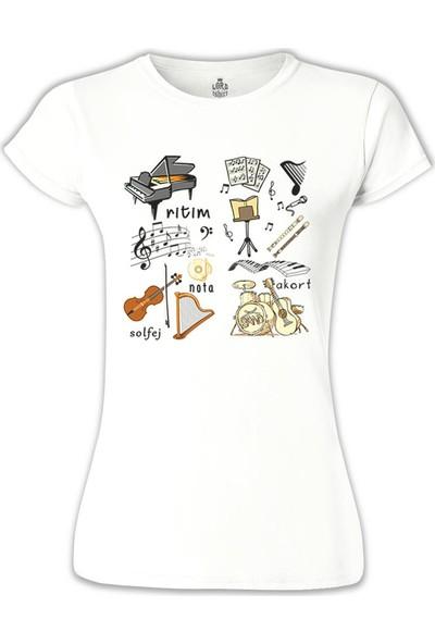 Lord T-Shirt Müzik - Akort Beyaz Kadın T-Shirt