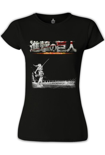 Lord T-Shirt Attack on Titan Siyah Kadın T-Shirt