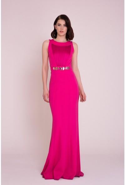 GIZIA Taş Detaylı Pembe Maxi Elbise