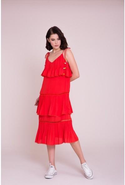 GIZIA İp Askılı Coral Midi Elbise
