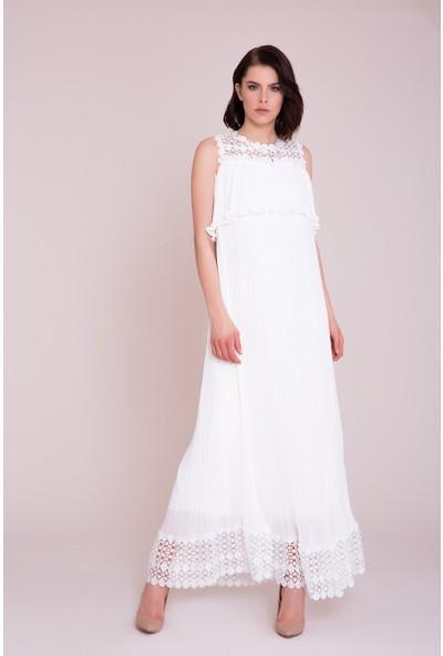 GIZIA Güpür Detaylı Beyaz Maxi Elbise