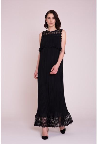GIZIA Güpür Detaylı Siyah Maxi Elbise
