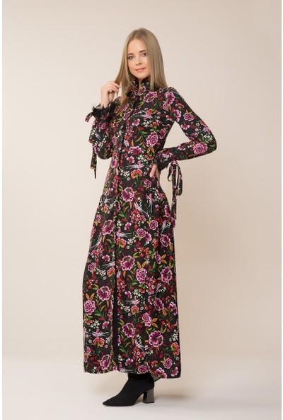 GIZIA Çiçek Desenli Uzun Elbise