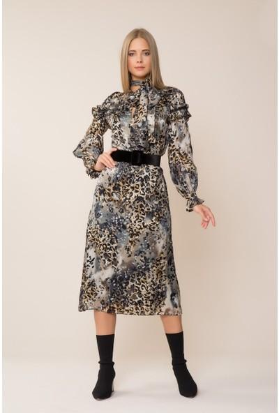 GIZIA Kemer Detaylı Leopar Desen Elbise