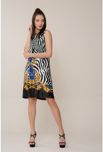 GIZIA Zebra Desenli Mini Elbise
