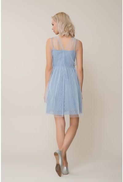 GIZIA Mavi Tül Mini Elbise