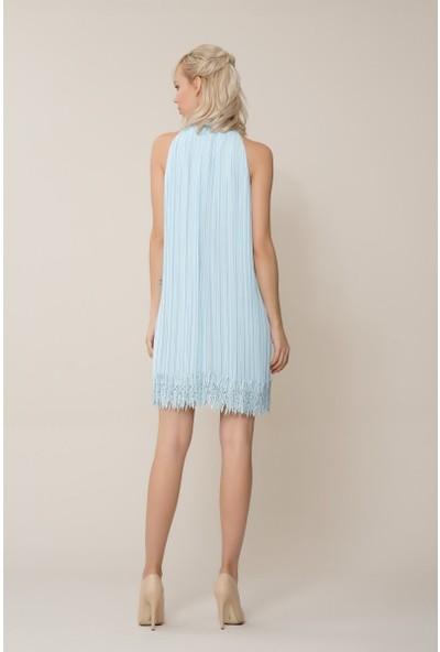 GIZIA Etek Ucu Detaylı Mavi Mini Pilise Elbise