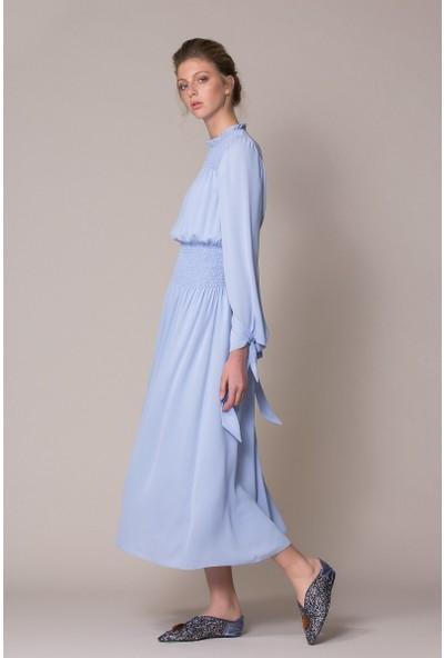 GIZIA Kol Bağlamalı Mavi Midi Elbise