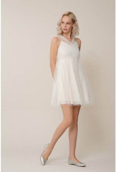 GIZIA Beyaz Tül Mini Elbise