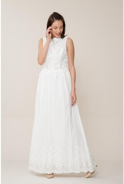 GIZIA Çiçek Detaylı Uzun Beyaz Elbise