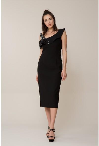 GIZIA Taş Detaylı Siyah Elbise