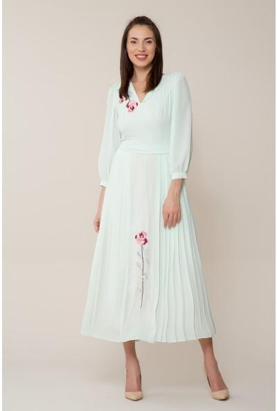 GIZIA Çiçek Nakışlı Mint Uzun Elbise