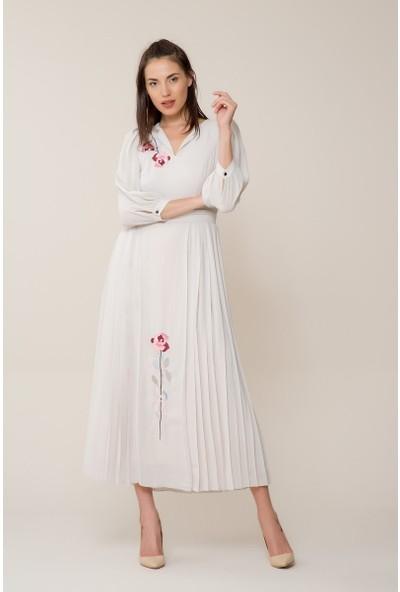 GIZIA Çiçek Nakışlı Uzun Elbise