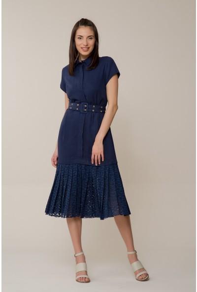 GIZIA Lacivert Güpür Elbise