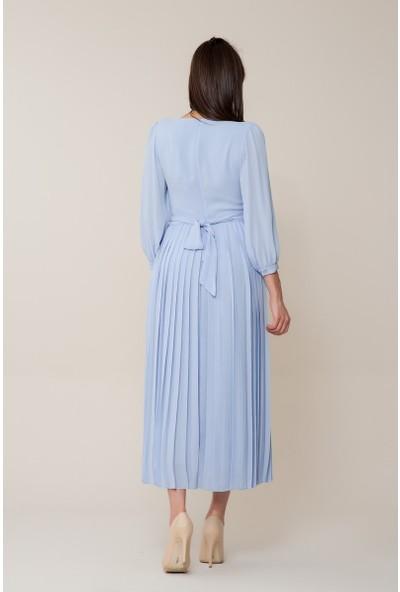 GIZIA Çiçek Nakışlı Mavi Uzun Elbise