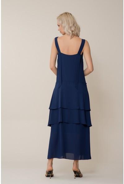 GIZIA Kalın Askılı Lacivert Uzun Elbise
