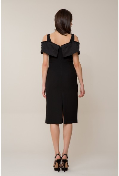 GIZIA Taş İşlemeli Siyah Elbise
