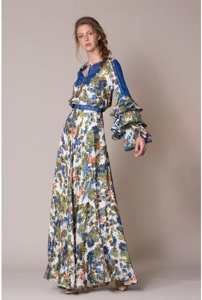 GIZIA Fırfır Kol Detaylı Uzun Elbise