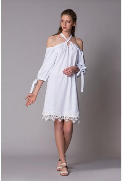 GIZIA Etek Ucu Güpürlü Elbise