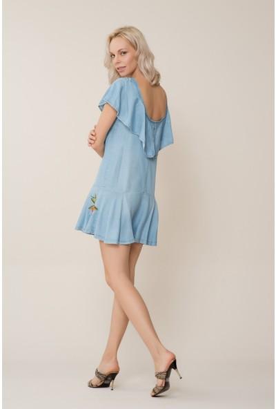 GIZIA Etek Ucu Çiçek Desenli Bebek Mavi Mini Elbise