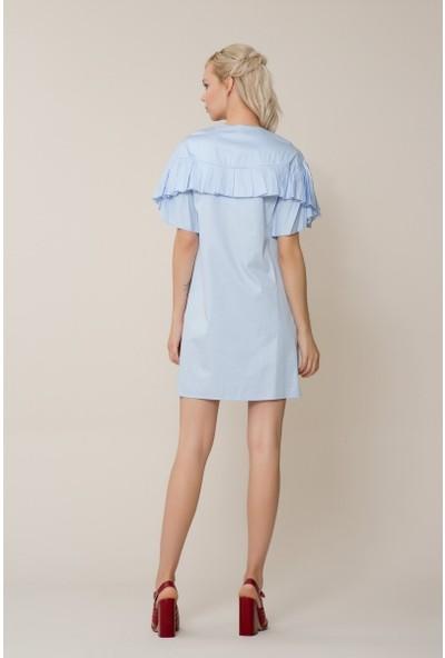 GIZIA Nakış İşlemeli Mavi Mini Elbise