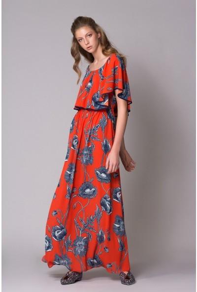 GIZIA Çiçek Desenli Kırmızı Uzun Elbise
