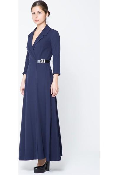 GIZIA Lacivert Uzun Ceket Elbise