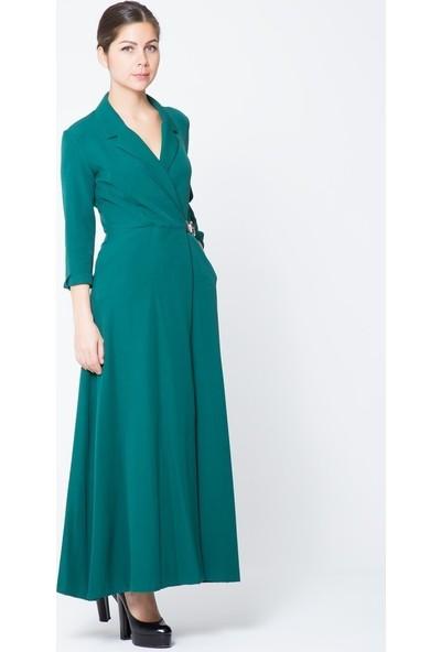 GIZIA Yeşil Uzun Ceket Elbise