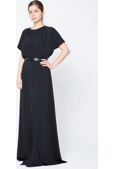 GIZIA Kemerli Siyah Uzun Elbise