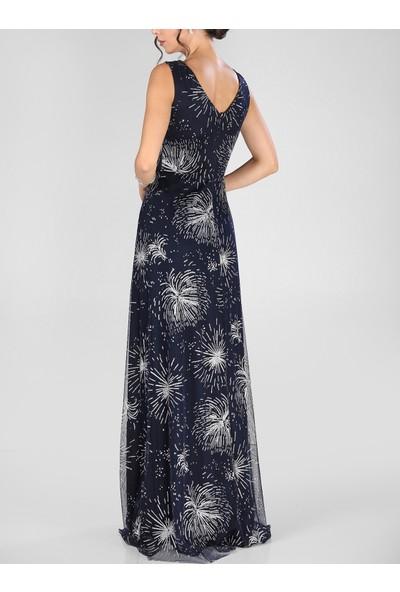 V Yaka Bel Taş Şeritli Sim Tül Uzun Abiye Elbise
