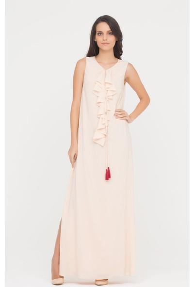 GIZIA Pudra Rengi Uzun Elbise