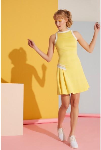 GIZIA Şerit Ve Fırfır Detaylı Sarı Elbise
