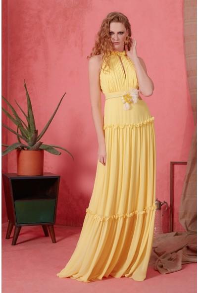 GIZIA İnci Ve Fırfır Detaylı Sarı Uzun Elbise