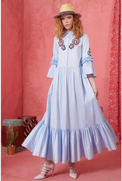 GIZIA Nakış Detaylı Mavi Elbise