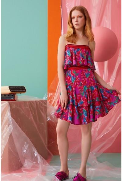GIZIA İp Askılı Çiçek Desenli Mini Elbise