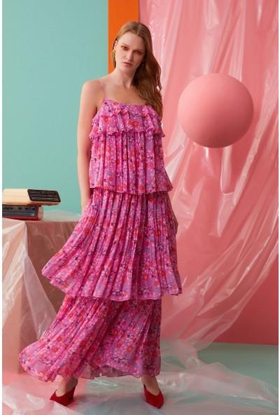 GIZIA İp Askılı Fırfır Detaylı Pembe Elbise