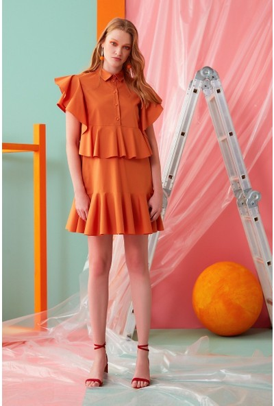 GIZIA Fırfır Detaylı Turuncu Mini Elbise
