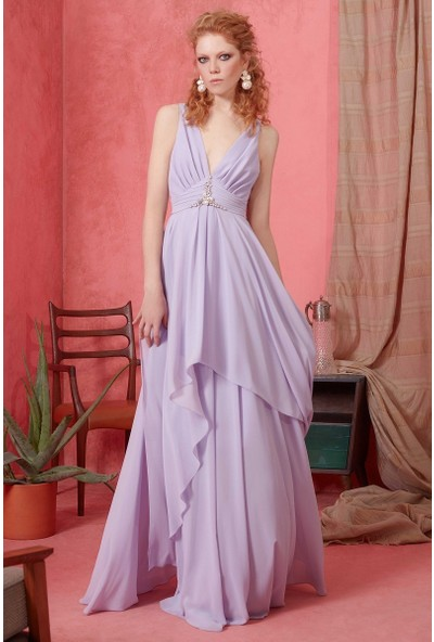 GIZIA V Yaka İnci Detaylı Lila Elbise