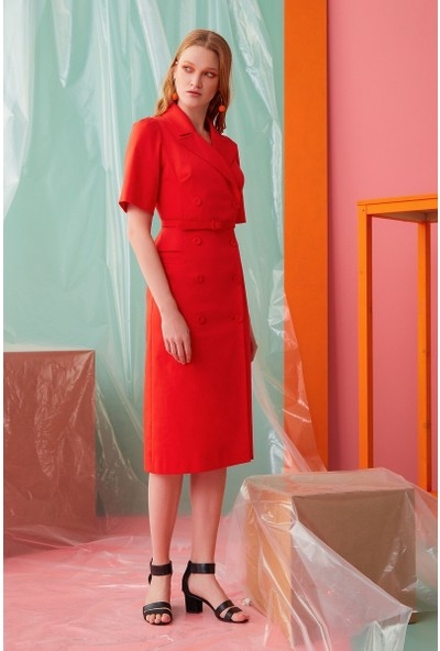 GIZIA Kemer Detaylı Mercan Rengi Elbise