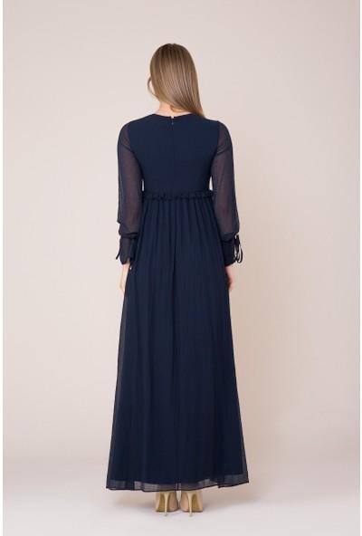 GIZIA İşlemeli Uzun Koyu Mavi Elbise