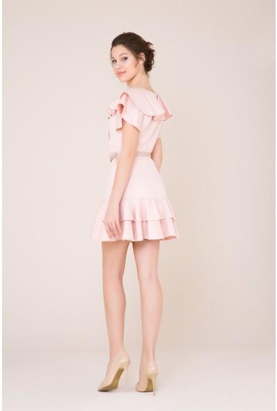 GIZIA Fırfır Ve Kemer Detaylı Açık Pudra Mini Elbise