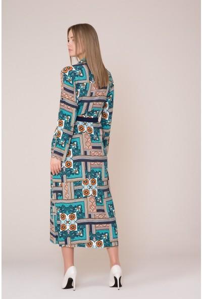 GIZIA Kuşak Detaylı Desenli Elbise